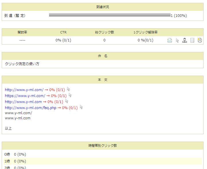 クリック測定結果を確認する画面